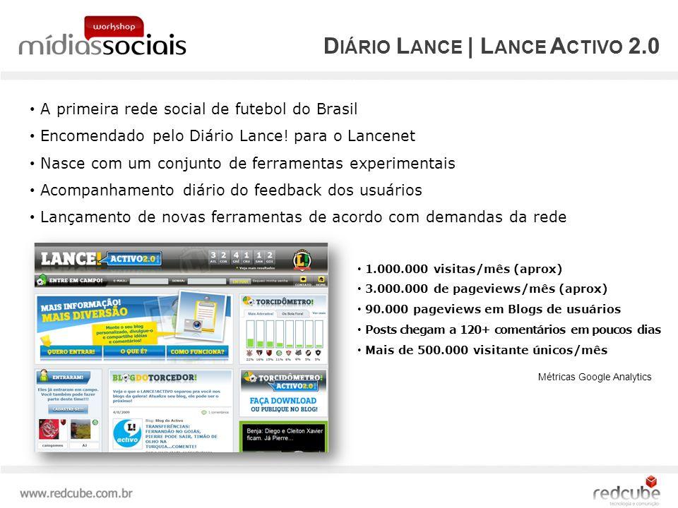D IÁRIO L ANCE | L ANCE A CTIVO 2.0 A primeira rede social de futebol do Brasil Encomendado pelo Diário Lance.