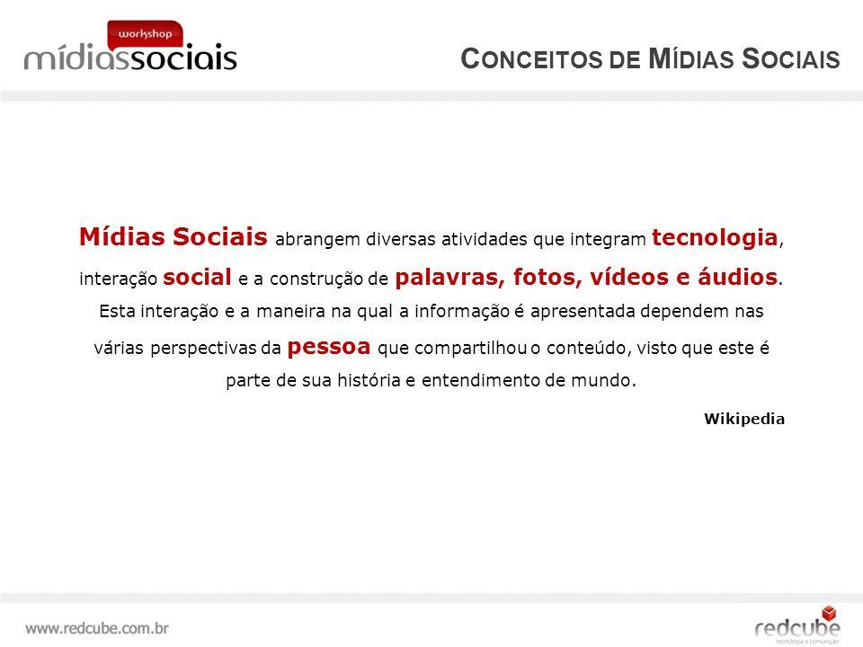 Mídias Sociais abrangem diversas atividades que integram tecnologia, interação social e a construção de palavras, fotos, vídeos e áudios.