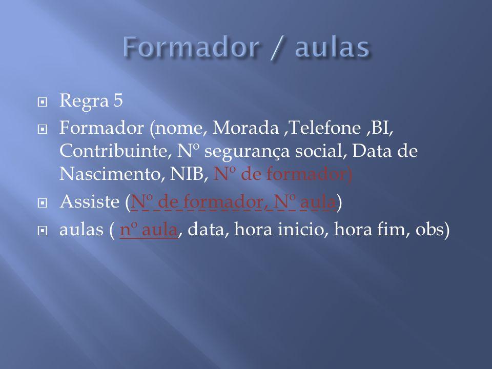Regra 5 Formador (nome, Morada,Telefone,BI, Contribuinte, Nº segurança social, Data de Nascimento, NIB, Nº de formador) Assiste (Nº de formador, Nº au