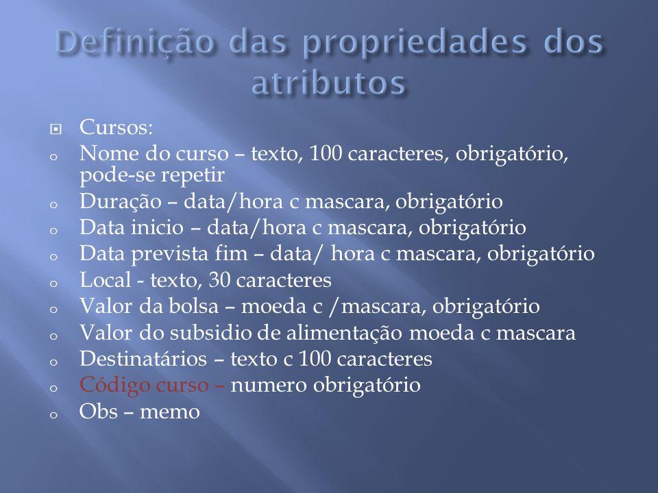 Cursos: o Nome do curso – texto, 100 caracteres, obrigatório, pode-se repetir o Duração – data/hora c mascara, obrigatório o Data inicio – data/hora c