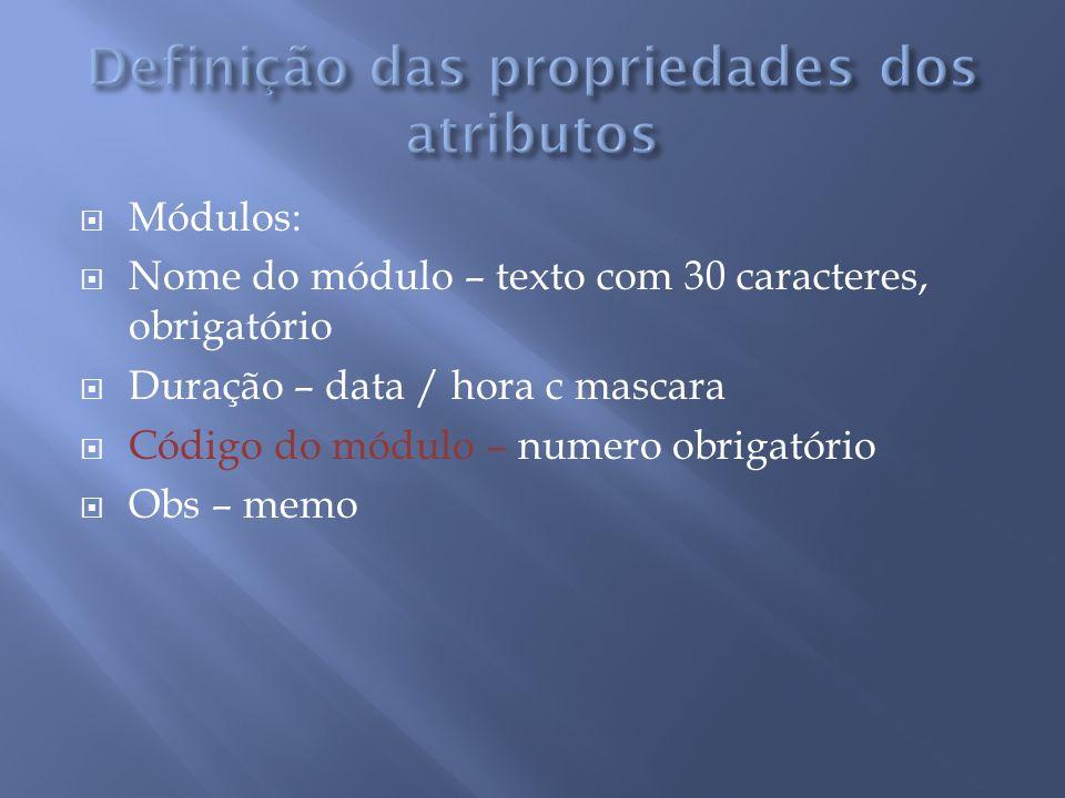 Módulos: Nome do módulo – texto com 30 caracteres, obrigatório Duração – data / hora c mascara Código do módulo – numero obrigatório Obs – memo