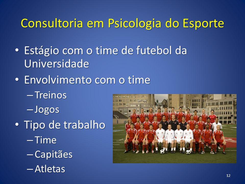 Consultoria em Psicologia do Esporte Estágio com o time de futebol da Universidade Estágio com o time de futebol da Universidade Envolvimento com o ti