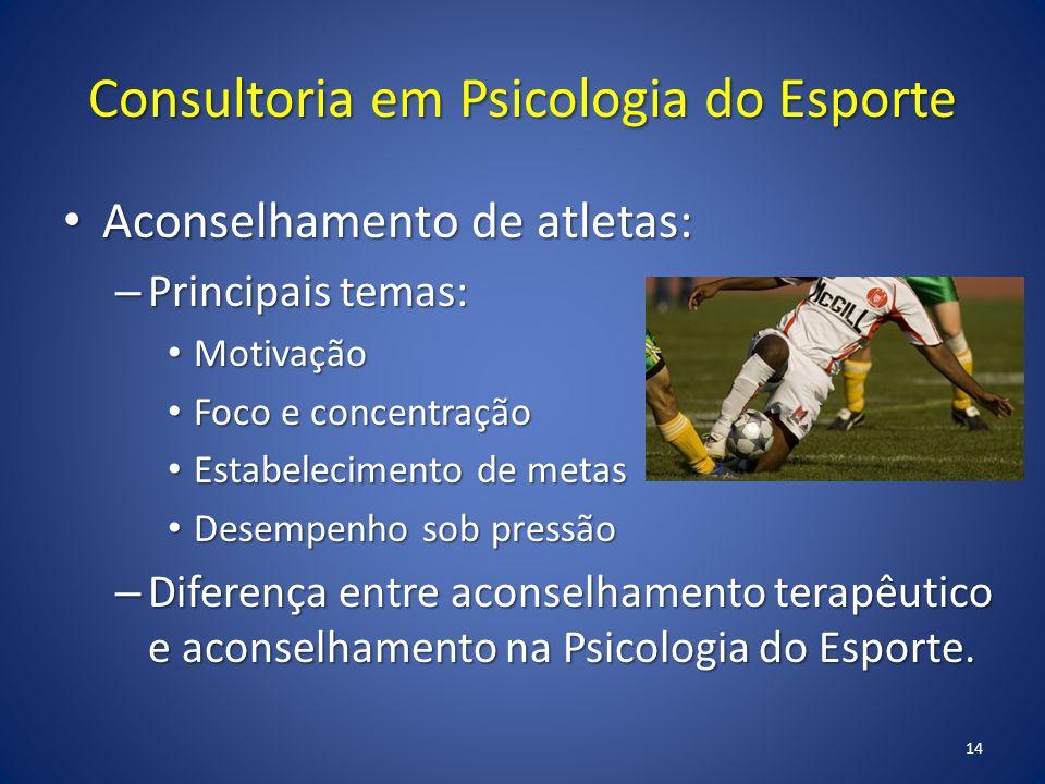 Consultoria em Psicologia do Esporte Aconselhamento de atletas: Aconselhamento de atletas: – Principais temas: Motivação Motivação Foco e concentração