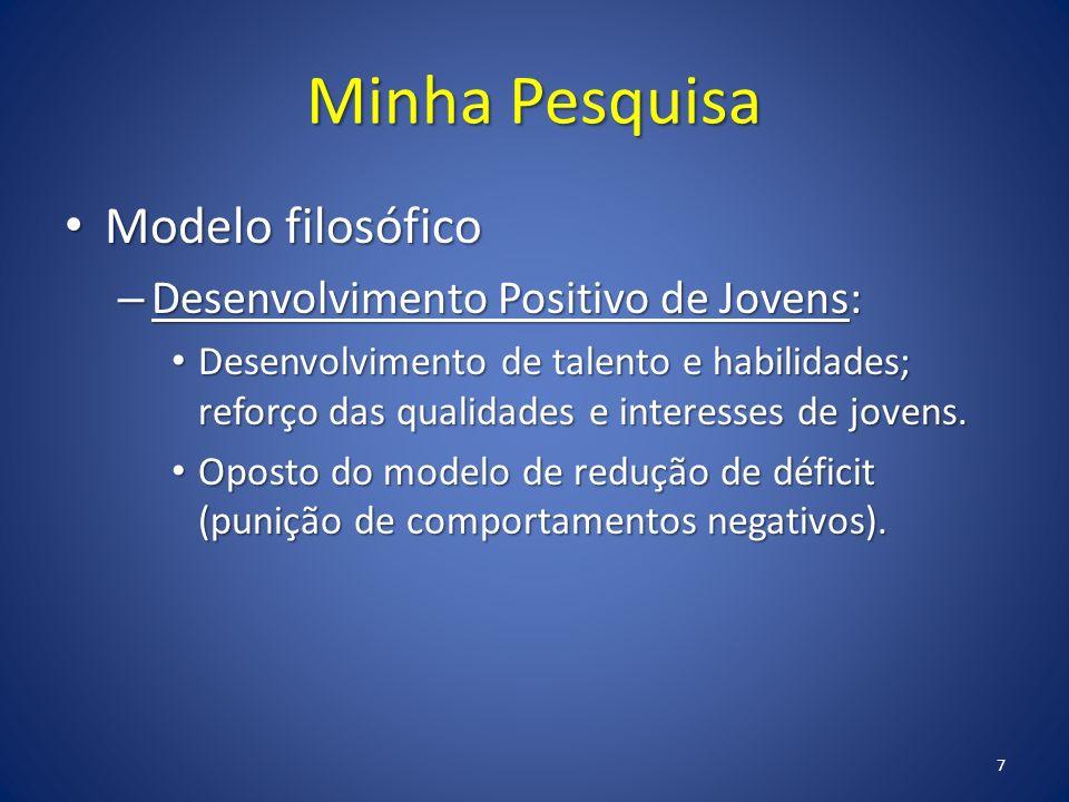 Minha Pesquisa Modelo filosófico Modelo filosófico – Desenvolvimento Positivo de Jovens: Desenvolvimento de talento e habilidades; reforço das qualida