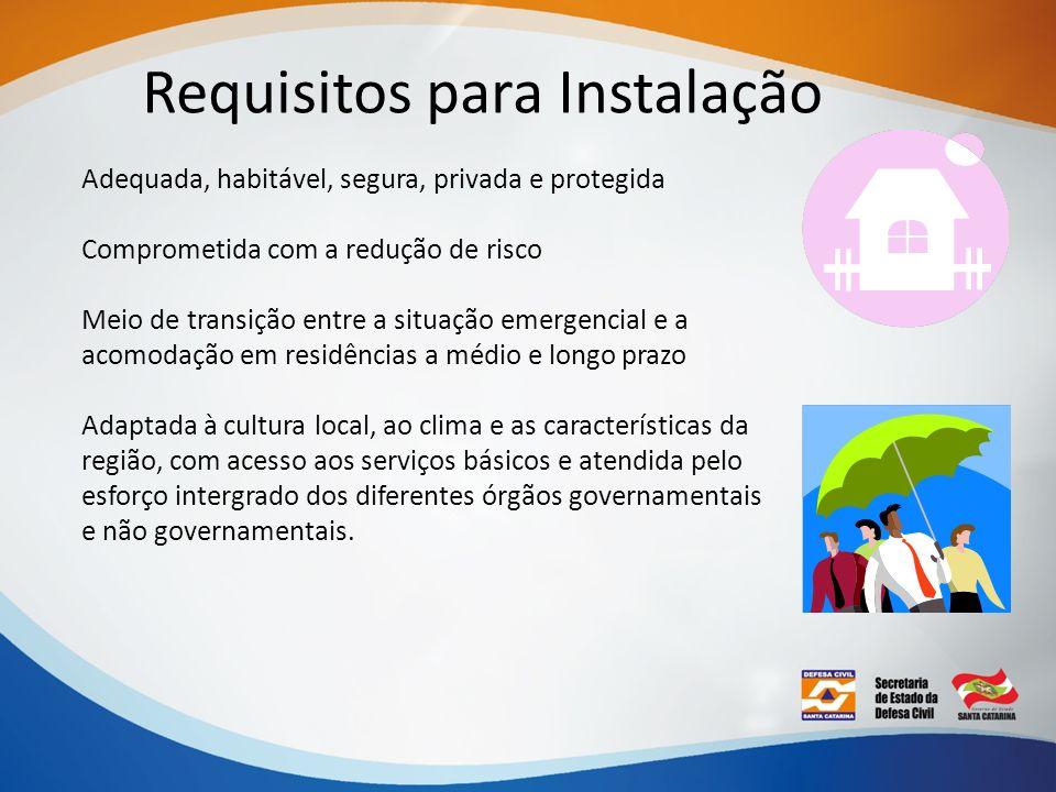 Requisitos para Instalação Adequada, habitável, segura, privada e protegida Comprometida com a redução de risco Meio de transição entre a situação eme