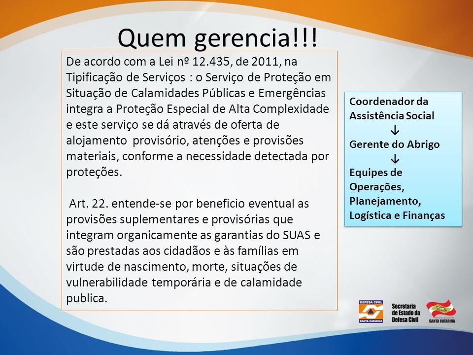 Quem gerencia!!! De acordo com a Lei nº 12.435, de 2011, na Tipificação de Serviços : o Serviço de Proteção em Situação de Calamidades Públicas e Emer