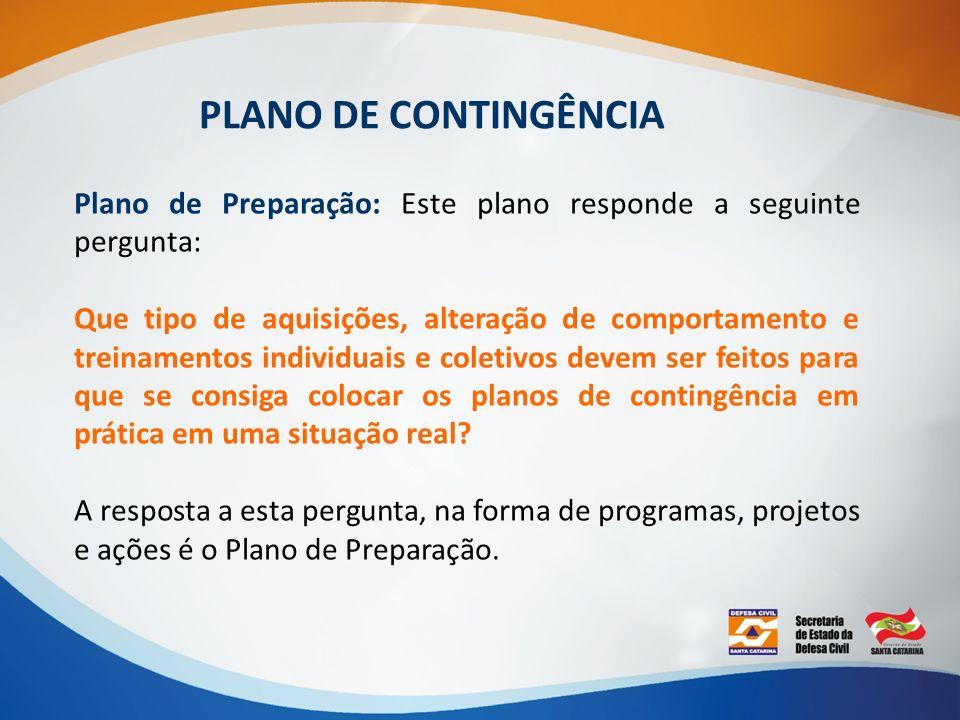 PLANO DE CONTINGÊNCIA Plano de Preparação: Este plano responde a seguinte pergunta: Que tipo de aquisições, alteração de comportamento e treinamentos
