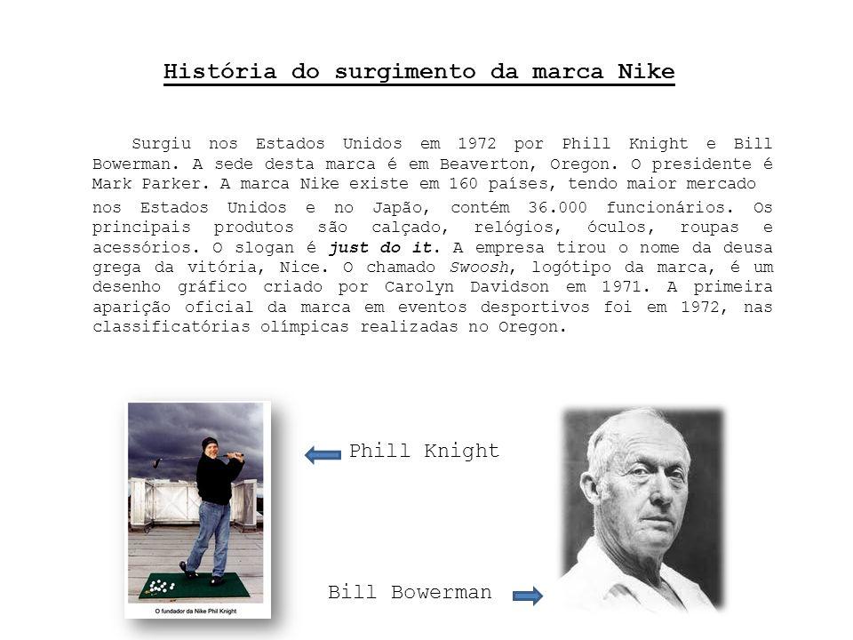 História do surgimento da marca Nike Surgiu nos Estados Unidos em 1972 por Phill Knight e Bill Bowerman.