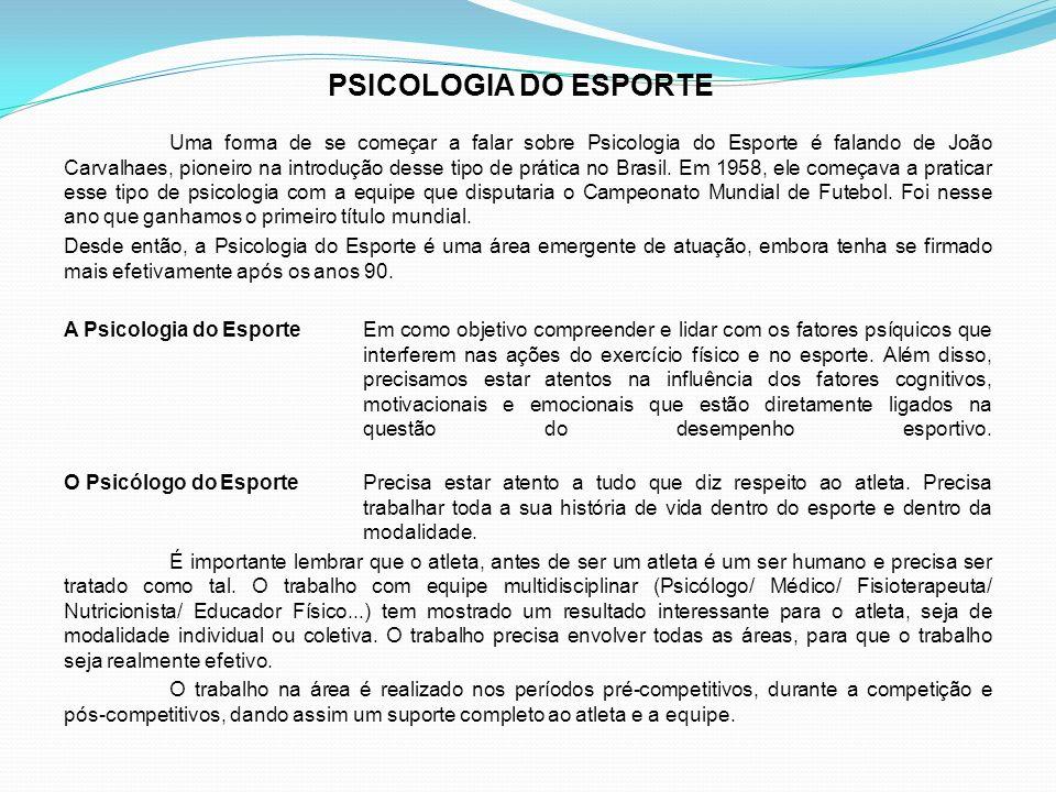 Uma forma de se começar a falar sobre Psicologia do Esporte é falando de João Carvalhaes, pioneiro na introdução desse tipo de prática no Brasil. Em 1