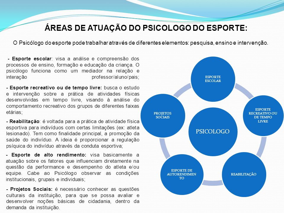 O Psicólogo do esporte pode trabalhar através de diferentes elementos: pesquisa, ensino e intervenção. PSICOLOGO ESPORTE ESCOLAR ESPORTE RECREATIVO OU
