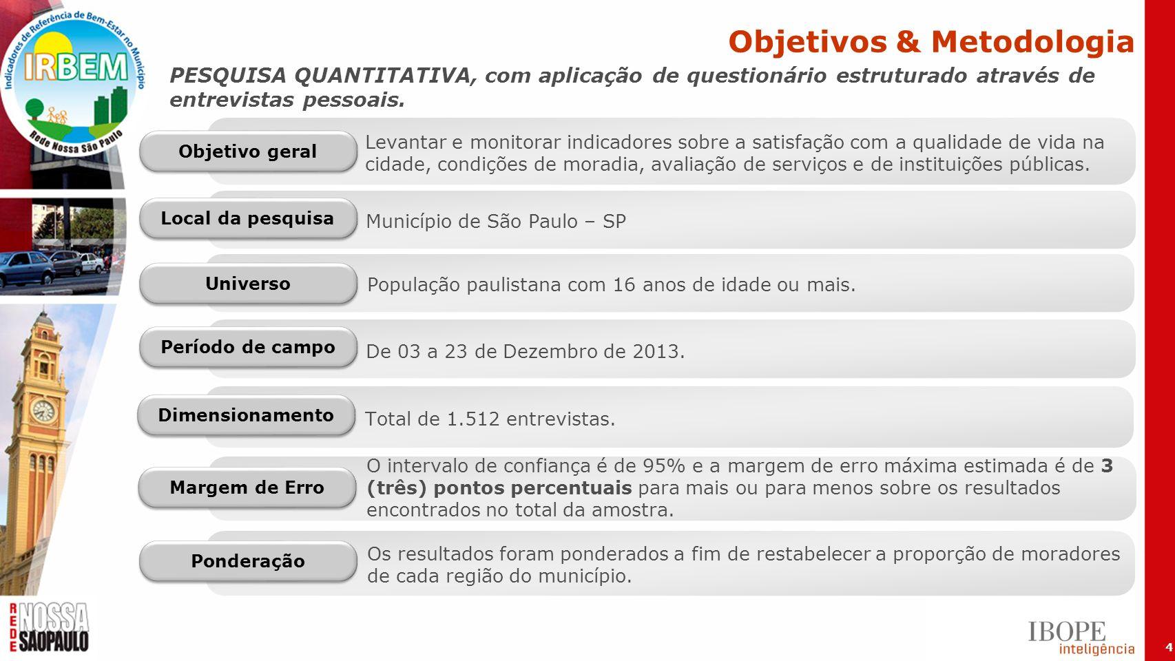 4 PESQUISA QUANTITATIVA, com aplicação de questionário estruturado através de entrevistas pessoais. De 03 a 23 de Dezembro de 2013. Total de 1.512 ent