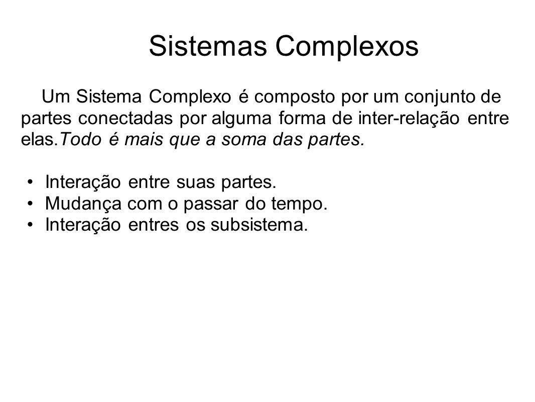 Sistemas Complexos Um Sistema Complexo é composto por um conjunto de partes conectadas por alguma forma de inter-relação entre elas.Todo é mais que a