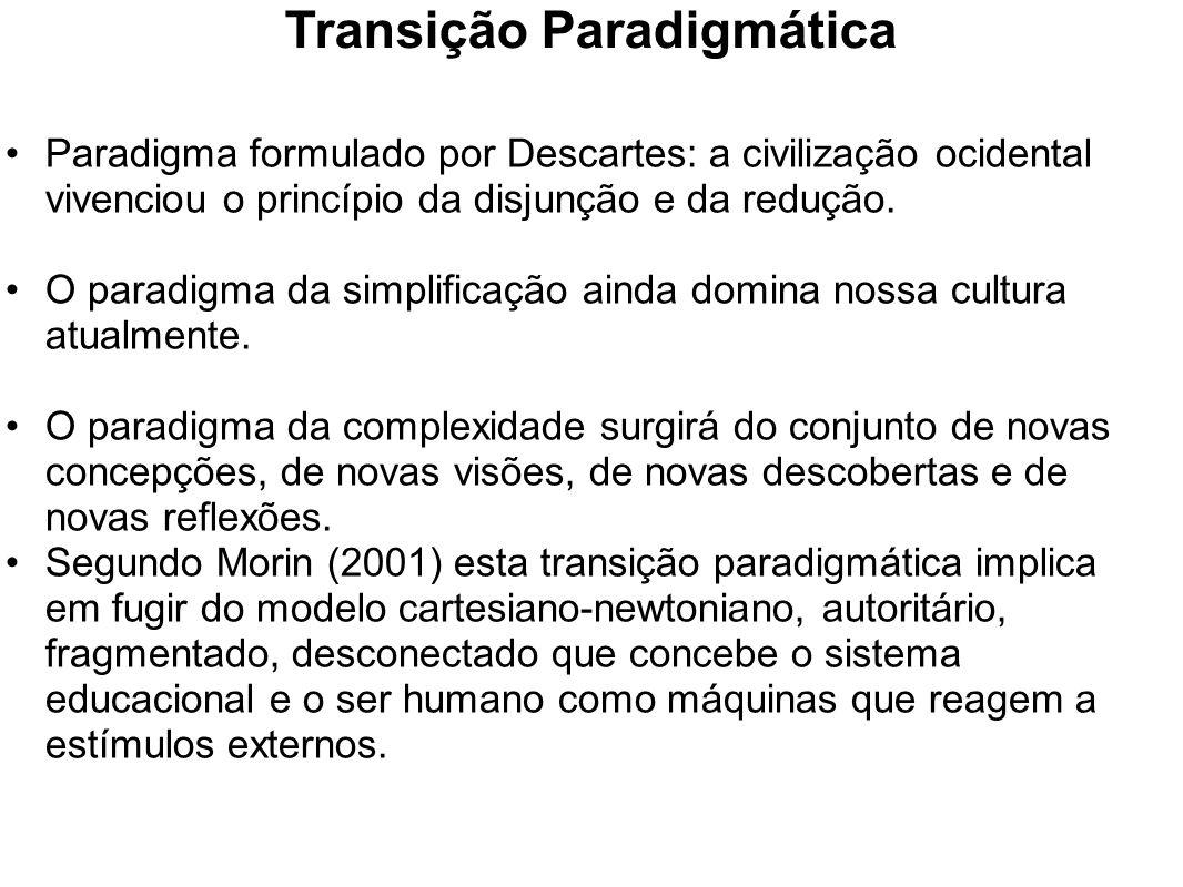 Transição Paradigmática Paradigma formulado por Descartes: a civilização ocidental vivenciou o princípio da disjunção e da redução. O paradigma da sim