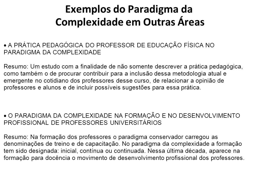 Exemplos do Paradigma da Complexidade em Outras Áreas A PRÁTICA PEDAGÓGICA DO PROFESSOR DE EDUCAÇÃO FÍSICA NO PARADIGMA DA COMPLEXIDADE Resumo: Um est