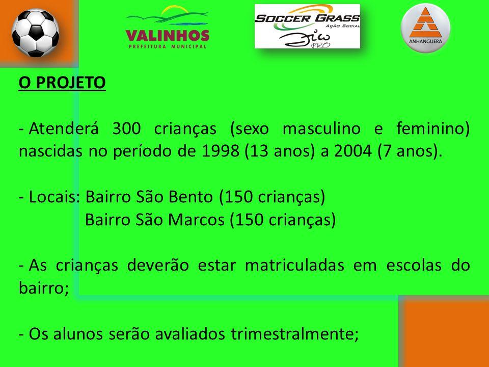 O PROJETO - Atenderá 300 crianças (sexo masculino e feminino) nascidas no período de 1998 (13 anos) a 2004 (7 anos). - Locais: Bairro São Bento (150 c