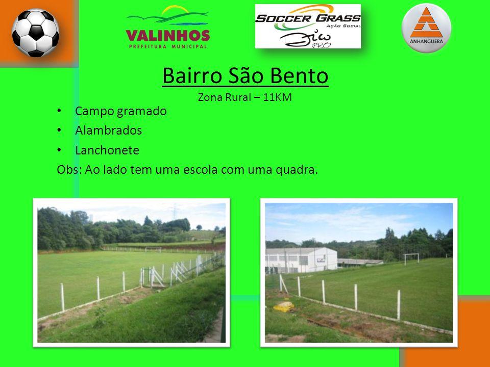 Bairro São Bento Zona Rural – 11KM Campo gramado Alambrados Lanchonete Obs: Ao lado tem uma escola com uma quadra.