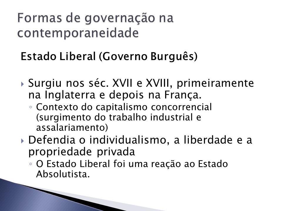 Estado Liberal (Governo Burguês) Surgiu nos séc. XVII e XVIII, primeiramente na Inglaterra e depois na França. Contexto do capitalismo concorrencial (