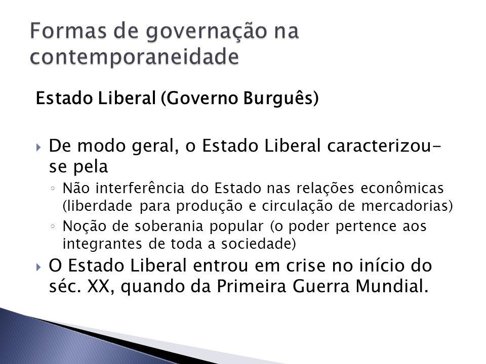 Estado Liberal (Governo Burguês) De modo geral, o Estado Liberal caracterizou- se pela Não interferência do Estado nas relações econômicas (liberdade
