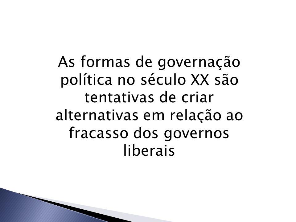 As formas de governação política no século XX são tentativas de criar alternativas em relação ao fracasso dos governos liberais
