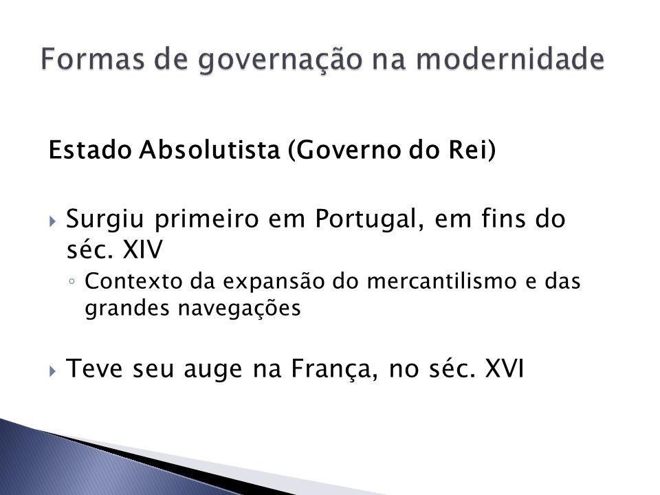 Estado Absolutista (Governo do Rei) Surgiu primeiro em Portugal, em fins do séc. XIV Contexto da expansão do mercantilismo e das grandes navegações Te