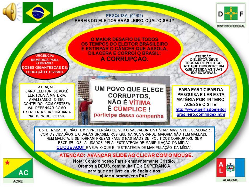 PESQUISA: (01/02) PERFIS DO ELEITOR BRASILEIRO, QUAL O SEU? Nota: Como o nosso País é eminentemente Cristão, Oremos a DEUS, com muita FÉ e ESPERANÇA p