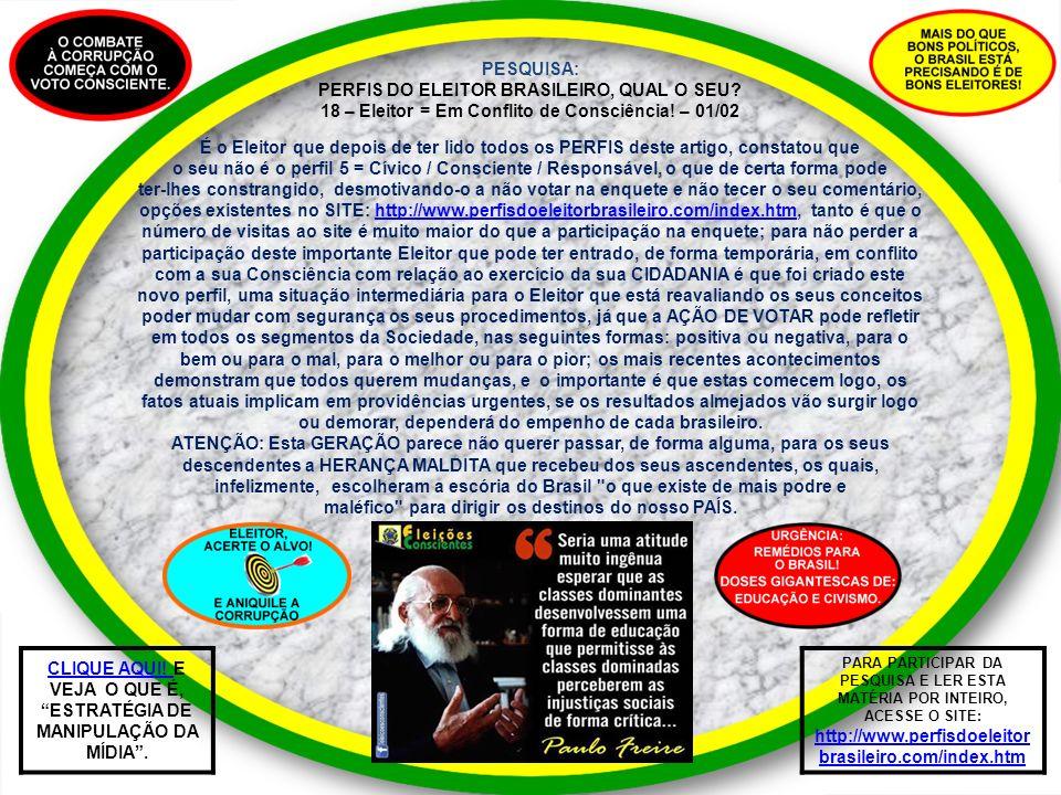 PESQUISA: PERFIS DO ELEITOR BRASILEIRO, QUAL O SEU? 18 – Eleitor = Em Conflito de Consciência! – 01/02 É o Eleitor que depois de ter lido todos os PER