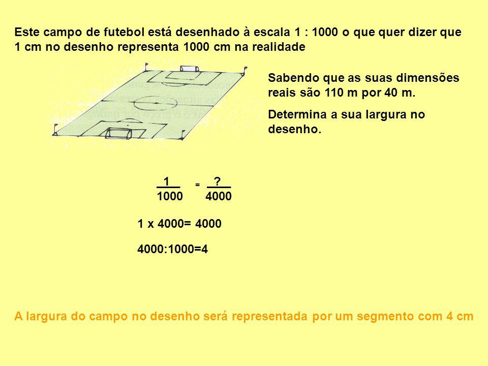 Este campo de futebol está desenhado à escala 1 : 1000 o que quer dizer que 1 cm no desenho representa 1000 cm na realidade Sabendo que as suas dimens