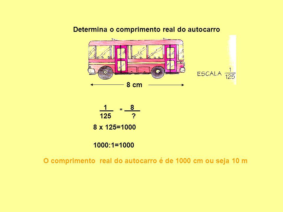 8 cm Determina o comprimento real do autocarro 1 _ 125 O comprimento real do autocarro é de 1000 cm ou seja 10 m = 8 _ ? 8 x 125=1000 1000:1=1000