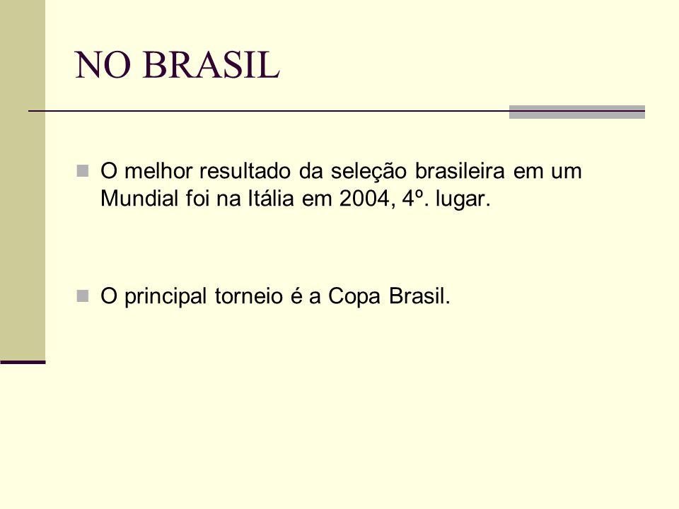 NO BRASIL O melhor resultado da seleção brasileira em um Mundial foi na Itália em 2004, 4º. lugar. O principal torneio é a Copa Brasil.