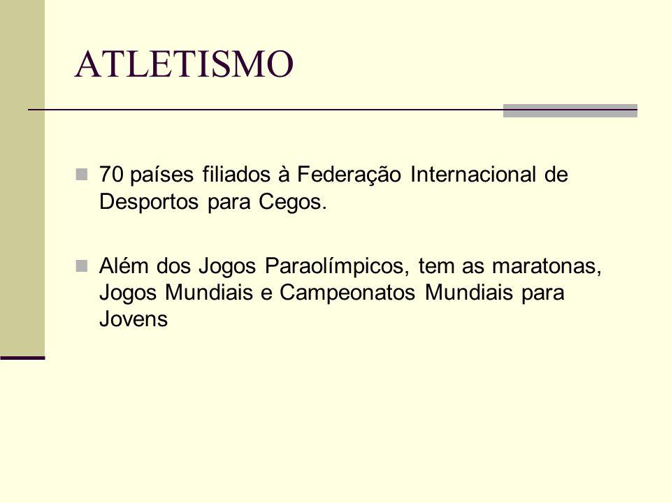 ATLETISMO 70 países filiados à Federação Internacional de Desportos para Cegos. Além dos Jogos Paraolímpicos, tem as maratonas, Jogos Mundiais e Campe