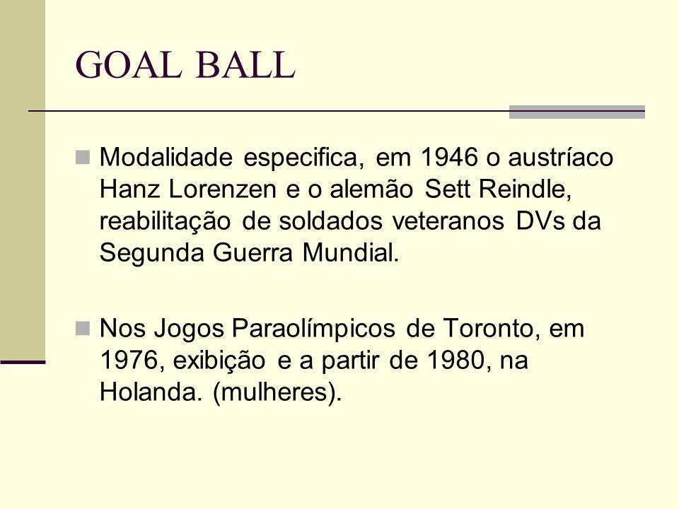 GOAL BALL Modalidade especifica, em 1946 o austríaco Hanz Lorenzen e o alemão Sett Reindle, reabilitação de soldados veteranos DVs da Segunda Guerra M