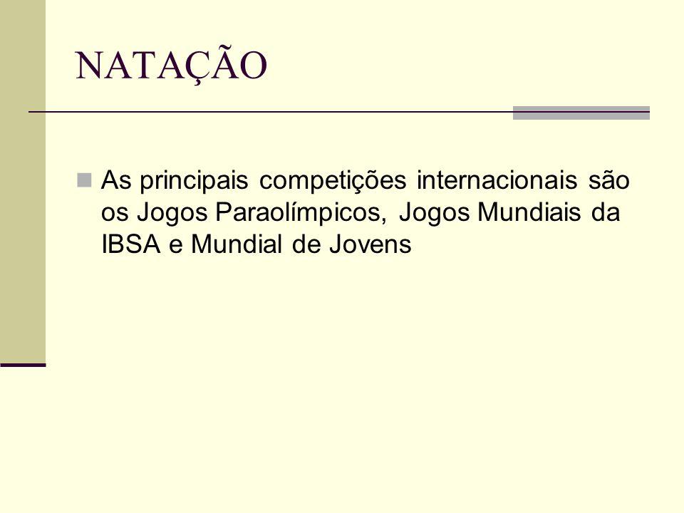 NATAÇÃO As principais competições internacionais são os Jogos Paraolímpicos, Jogos Mundiais da IBSA e Mundial de Jovens