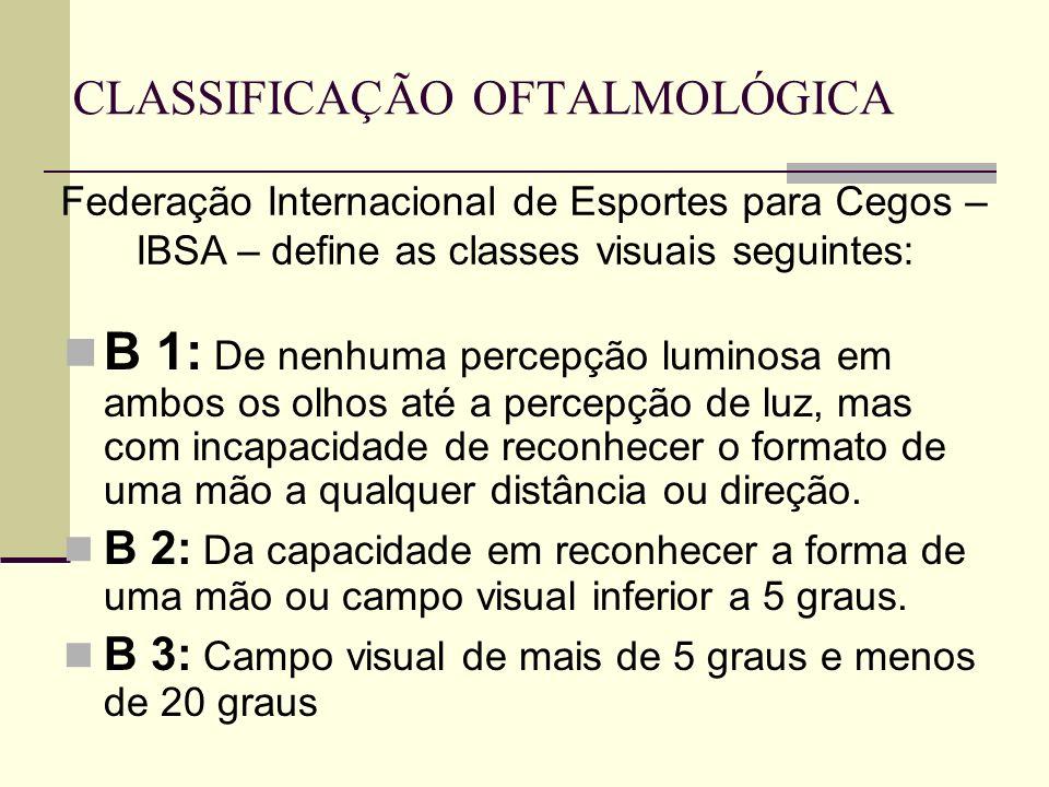 CLASSIFICAÇÃO OFTALMOLÓGICA B 1: De nenhuma percepção luminosa em ambos os olhos até a percepção de luz, mas com incapacidade de reconhecer o formato