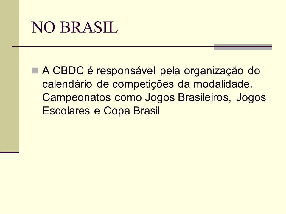NO BRASIL A CBDC é responsável pela organização do calendário de competições da modalidade. Campeonatos como Jogos Brasileiros, Jogos Escolares e Copa