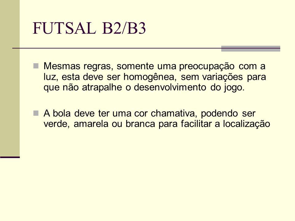 FUTSAL B2/B3 Mesmas regras, somente uma preocupação com a luz, esta deve ser homogênea, sem variações para que não atrapalhe o desenvolvimento do jogo