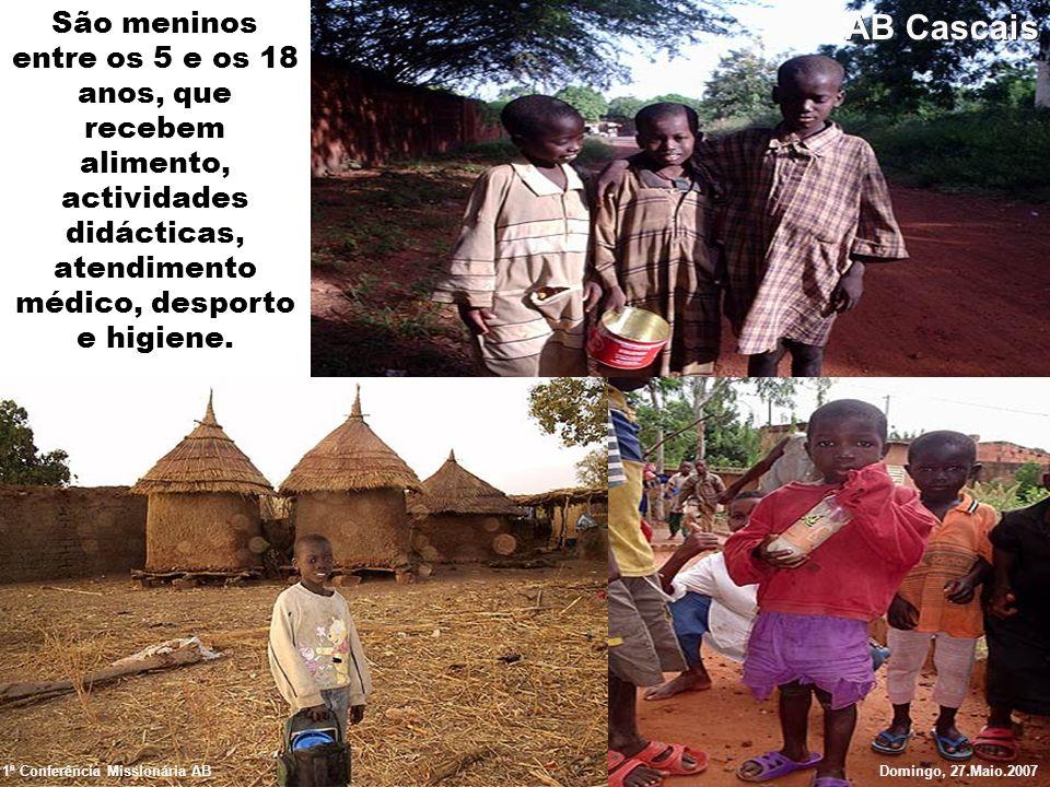 São meninos entre os 5 e os 18 anos, que recebem alimento, actividades didácticas, atendimento médico, desporto e higiene. 1ª Conferência Missionária
