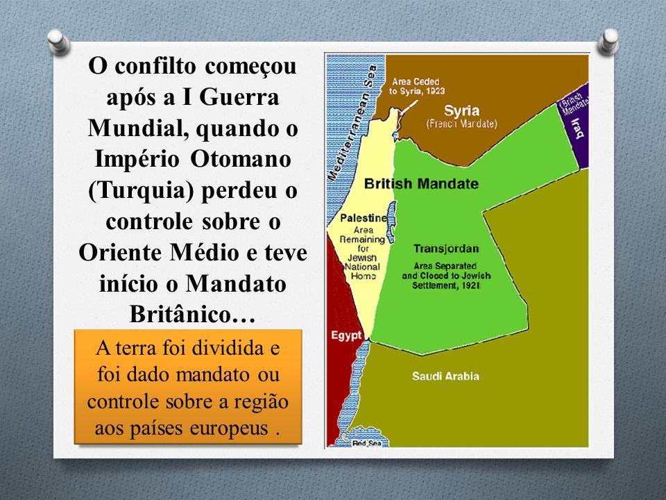 A terra foi dividida e foi dado mandato ou controle sobre a região aos países europeus. O confilto começou após a I Guerra Mundial, quando o Império O