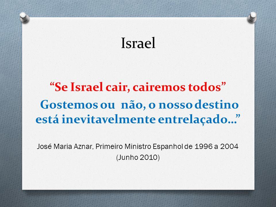 Israel Se Israel cair, cairemos todos Gostemos ou não, o nosso destino está inevitavelmente entrelaçado… José Maria Aznar, Primeiro Ministro Espanhol