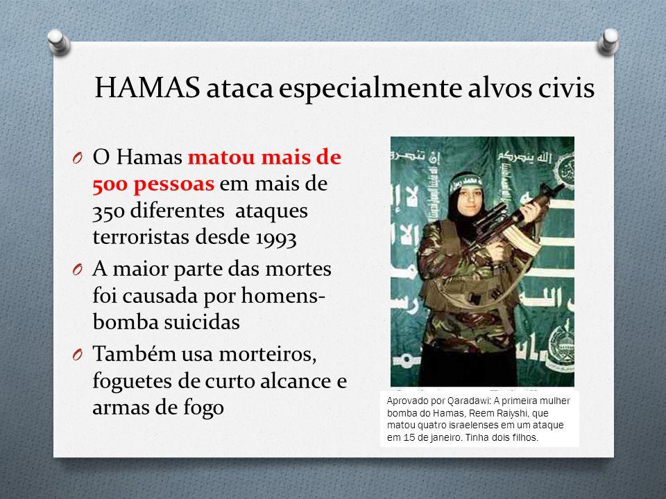 HAMAS ataca especialmente alvos civis O O Hamas matou mais de 500 pessoas em mais de 350 diferentes ataques terroristas desde 1993 O A maior parte das