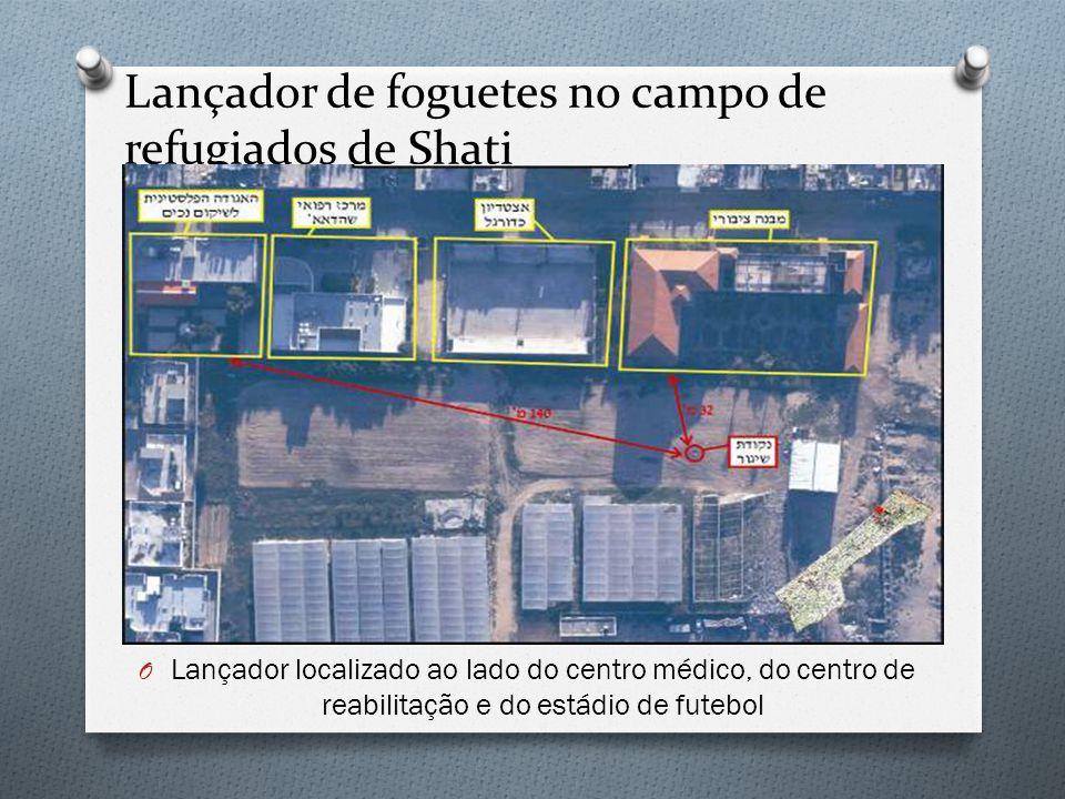 Lançador de foguetes no campo de refugiados de Shati O Lançador localizado ao lado do centro médico, do centro de reabilitação e do estádio de futebol