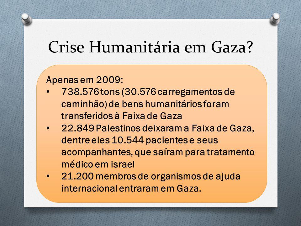 Apenas em 2009: 738.576 tons (30.576 carregamentos de caminhão) de bens humanitários foram transferidos à Faixa de Gaza 22.849 Palestinos deixaram a F
