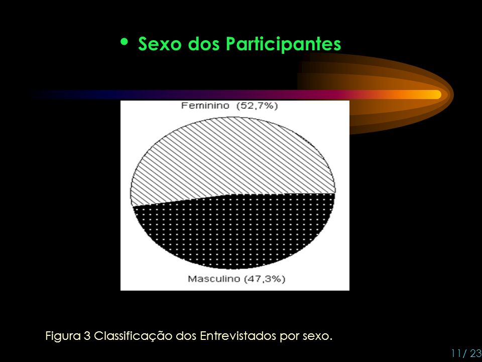 Sexo dos Participantes Figura 3 Classificação dos Entrevistados por sexo. 11/ 23