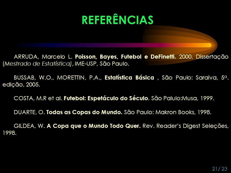 21/ 23 REFERÊNCIAS ARRUDA, Marcelo L.Poisson, Bayes, Futebol e DeFinetti.