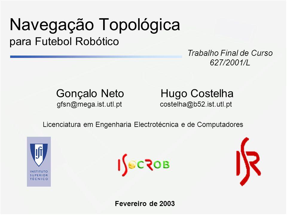 Navegação Topológica para Futebol Robótico Gonçalo Neto gfsn@mega.ist.utl.pt Trabalho Final de Curso 627/2001/L Hugo Costelha costelha@b52.ist.utl.pt Fevereiro de 2003 Licenciatura em Engenharia Electrotécnica e de Computadores