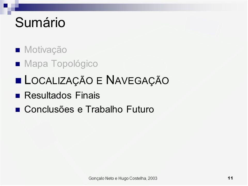 11Gonçalo Neto e Hugo Costelha, 2003 Sumário Motivação Mapa Topológico L OCALIZAÇÃO E N AVEGAÇÃO Resultados Finais Conclusões e Trabalho Futuro