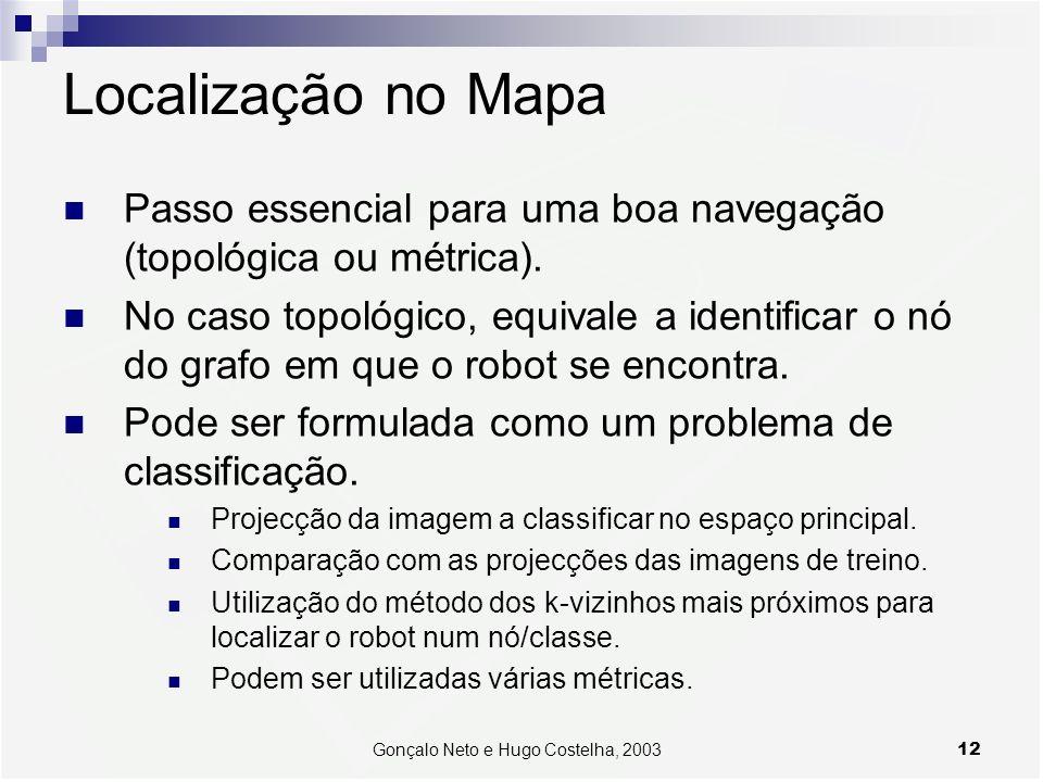 12Gonçalo Neto e Hugo Costelha, 2003 Localização no Mapa Passo essencial para uma boa navegação (topológica ou métrica). No caso topológico, equivale