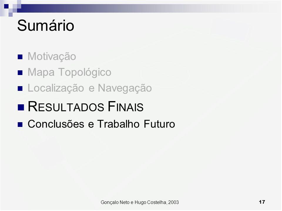 17Gonçalo Neto e Hugo Costelha, 2003 Sumário Motivação Mapa Topológico Localização e Navegação R ESULTADOS F INAIS Conclusões e Trabalho Futuro