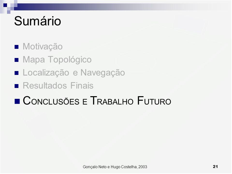 21Gonçalo Neto e Hugo Costelha, 2003 Sumário Motivação Mapa Topológico Localização e Navegação Resultados Finais C ONCLUSÕES E T RABALHO F UTURO