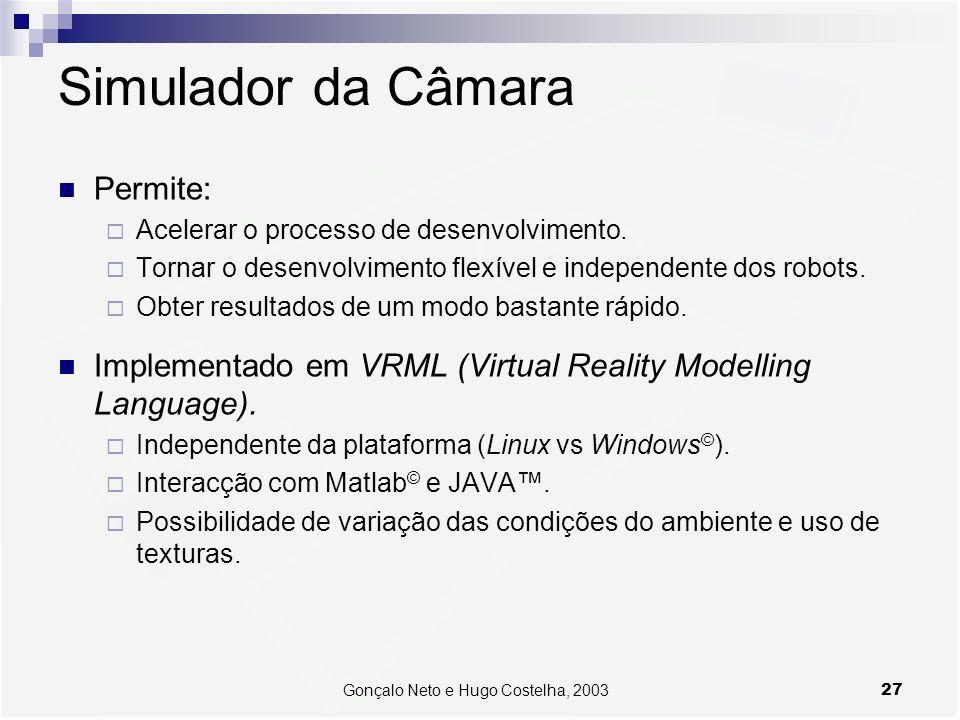 27Gonçalo Neto e Hugo Costelha, 2003 Simulador da Câmara Permite: Acelerar o processo de desenvolvimento. Tornar o desenvolvimento flexível e independ