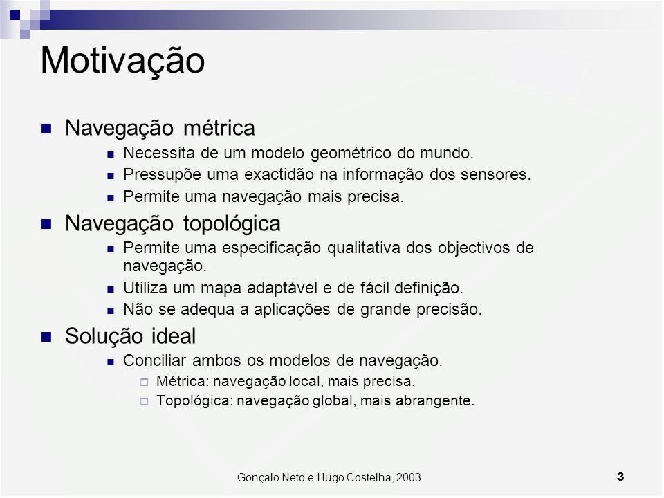 3Gonçalo Neto e Hugo Costelha, 2003 Motivação Navegação métrica Necessita de um modelo geométrico do mundo. Pressupõe uma exactidão na informação dos